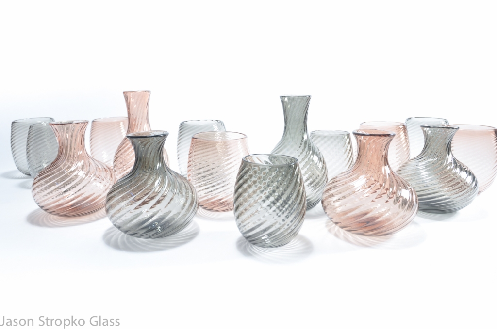 Tactile twisted ripple effect table ware set, blown glass, made by Jason Stropko